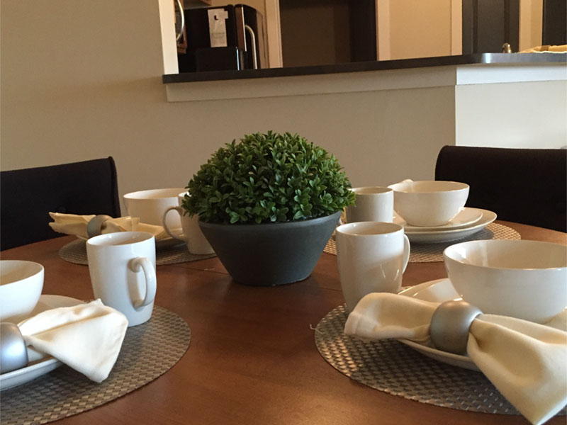 Dining area with place settings
